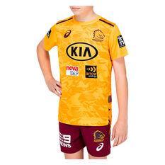 Brisbane Broncos 2021 Kids Training Tee, Yellow, rebel_hi-res