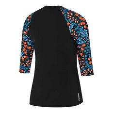 Speedo Womens Endurance Plus 3 Quarter Rash Vest Black / Print 8, Black / Print, rebel_hi-res
