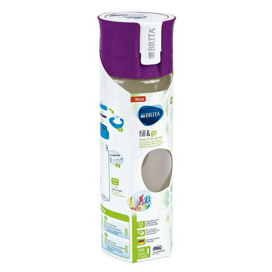 Brita Fill and Go Vital 600ml Filter Water Bottle Purple, , rebel_hi-res