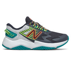 New Balance Rave Run Kids Running Shoes Black/Green US 4, Black/Green, rebel_hi-res