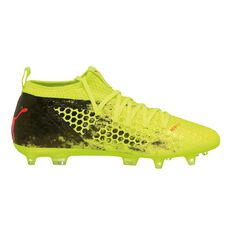 Puma Future 18.2 NETFIT hyFG Mens Football Boots Yellow / Red US 7 Adult, Yellow / Red, rebel_hi-res