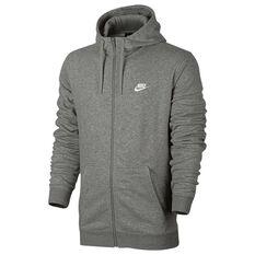 Nike Mens NSW Club Terry Full Zip Hoodie Grey / White S adult, Grey / White, rebel_hi-res