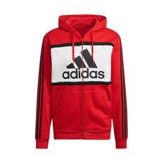 adidas Mens Essentials Colourblock Logo Hoodie Red XS, Red, rebel_hi-res