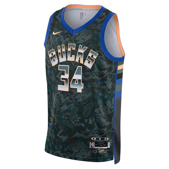 Nike Milwaukee Bucks Giannis Antetokounmpo 2021 Mens MVP Select Jersey, Black, rebel_hi-res