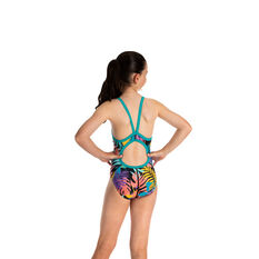 Speedo Girls Thinstrap Muscleback One Piece Anthracite 6 6, Anthracite, rebel_hi-res