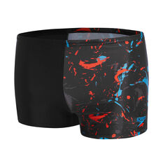 Speedo Boys Black Splat Leisure Swim Shorts Black 6, Black, rebel_hi-res