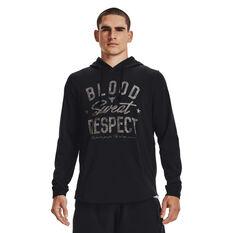 Under Armour Mens Project Rock Blood Sweat Respect Hoodie, Black, rebel_hi-res