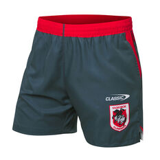 St George Illawarra Dragons 2021 Mens Training Shorts Grey S Grey, Grey, rebel_hi-res