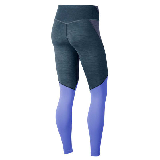 Nike Womens One Mid-Rise Tights, Blue, rebel_hi-res