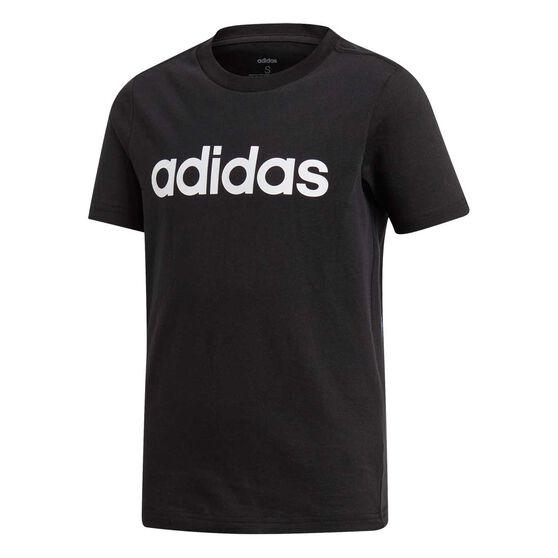 adidas Boys Essentials Linear Tee Black / White 14, Black / White, rebel_hi-res