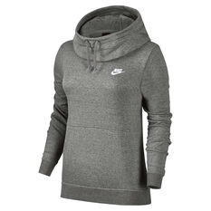 Nike Womens Funnel Neck Hoodie Grey / White XS, Grey / White, rebel_hi-res