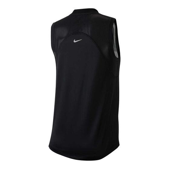 Nike Womens Dri-FIT Miller Metallic Running Tank, Black, rebel_hi-res