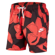 Nike Mens Sportswear Woven Floral Shorts Red XS, Red, rebel_hi-res