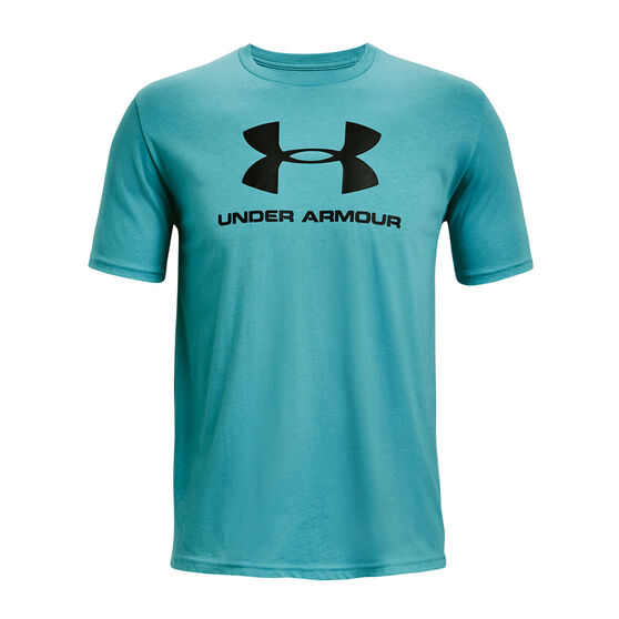 Under Armour Mens Sportstyle Left Chest Cut-Off Tee, Teal, rebel_hi-res