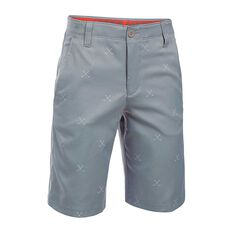 Under Armour Boys Match Play Printed Shorts Grey / Orange 8 Junior, Grey / Orange, rebel_hi-res
