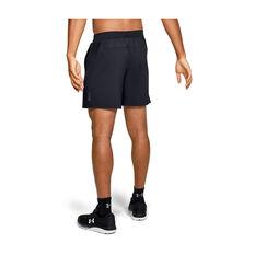Under Armour Mens Qualifier Speedpocket 7in Shorts, Black, rebel_hi-res