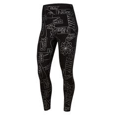 Nike Womens Icon Clash Sportswear High Waisted Tights, Black, rebel_hi-res