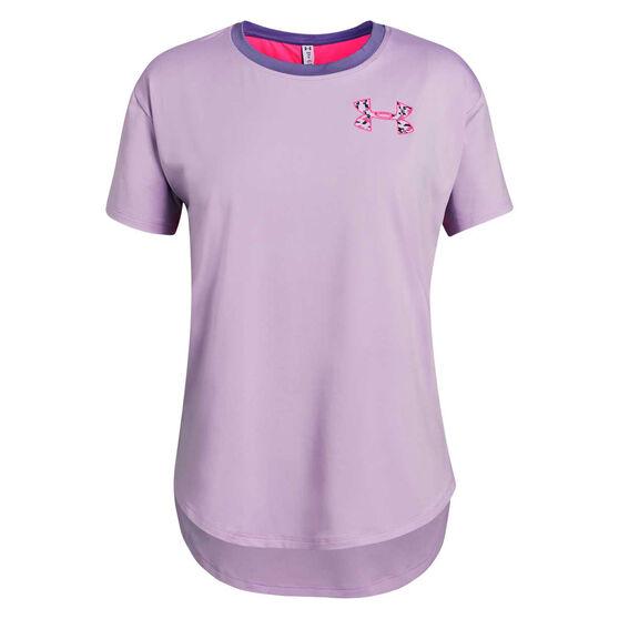 Under Armour Girls HeatGear Armour Training Tee Purple / Pink XL, Purple / Pink, rebel_hi-res