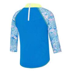 Speedo Girls Logo Longsleeve Rash Vest, Blue, rebel_hi-res