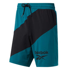 Reebok Mens Workout Ready Woven Graphic Shorts Blue L, Blue, rebel_hi-res