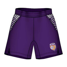 Perth Glory Mens Supporter Training Shorts Purple S, Purple, rebel_hi-res