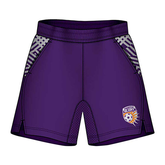 Perth Glory Mens Supporter Training Shorts, Purple, rebel_hi-res