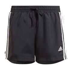 adidas Girls Designed To Move 3-Stripes Shorts Black 6, Black, rebel_hi-res