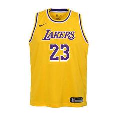 Nike Los Angeles Lakers LeBron James Icon 2020/21 Kids Swingman Jersey Yellow S, Yellow, rebel_hi-res