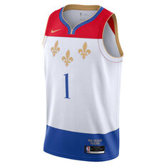 Nike New Orleans Pelicans Zion Williamson 2020/21 Mens City Swingman Jersey, White, rebel_hi-res