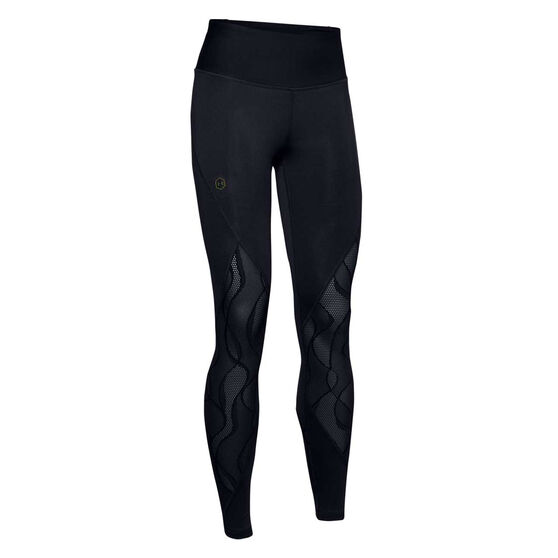 Under Armour Womens Rush Vent Tights, Black, rebel_hi-res