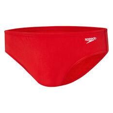 Speedo Mens Endurance 8cm Swim Briefs Red 14 Adult, Red, rebel_hi-res