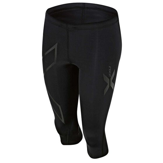 2XU Womens 3 Quarter Compression Tights Black XXS, Black, rebel_hi-res