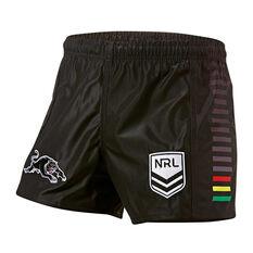 Penrith Panthers Mens Home Supporter Shorts Black S, Black, rebel_hi-res