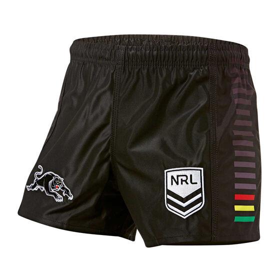 Penrith Panthers Mens Home Supporter Shorts, Black, rebel_hi-res