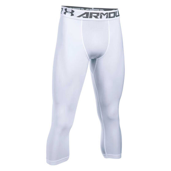 Under Armour Mens HeatGear Armour 2.0 3 Quarter Compression, White, rebel_hi-res