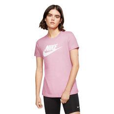 Nike Womens Sportswear Essential Icon Futura Tee, Pink, rebel_hi-res