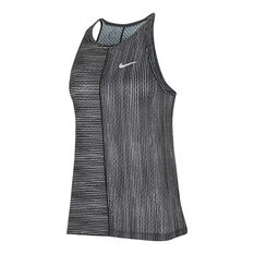 Nike Womens Court Printed Tennis Tank Black XS, Black, rebel_hi-res