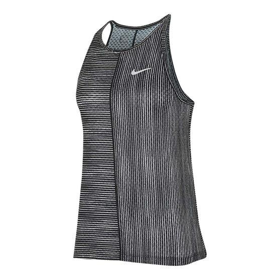 Nike Womens Court Printed Tennis Tank Black XS, Black, rebel_hi-res