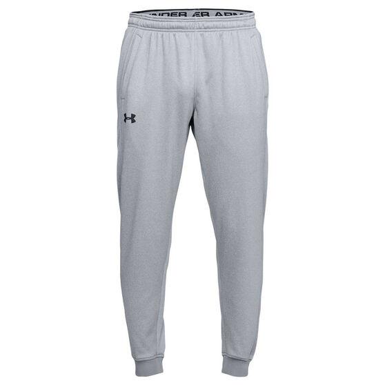 Under Armour Mens Armour Fleece Jogger Pants, Grey / Black, rebel_hi-res