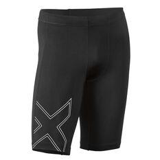2XU Mens Aspire Compression Shorts Black / Silver XS, Black / Silver, rebel_hi-res