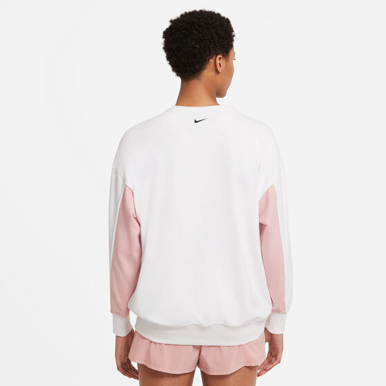 Nike Womens Dri-FIT Get Fit Fleece Graphic Sweater, White, rebel_hi-res