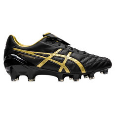 Asics Lethal Testimonial 4 IT Football Boots Black / Gold US Mens 7 / Womens 8.5, Black / Gold, rebel_hi-res