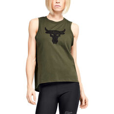 Under Armour Womens Project Rock Bull Tank, Green, rebel_hi-res