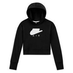 Nike Girls NSW Air FT Cropped Hoodie Black XS, Black, rebel_hi-res
