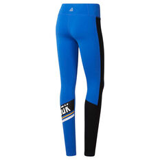 Reebok Womens Workout Ready Meet You There Tights Blue XS, Blue, rebel_hi-res