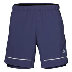 Asics Mens Lite Show 7in Running Shorts Blue S, Blue, rebel_hi-res