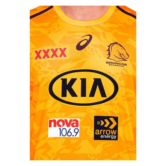 Brisbane Broncos 2021 Mens Training Tee, Yellow, rebel_hi-res