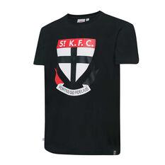 St Kilda Saints Mens Supporter Logo Tee Black S, Black, rebel_hi-res