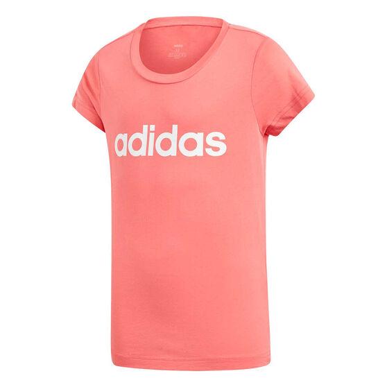 adidas Girls Essentials Linear Tee, Pink / White, rebel_hi-res