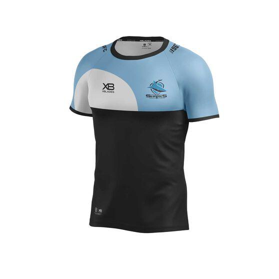 Cronulla-Sutherland Sharks 2019 Training Tee, Black / Blue, rebel_hi-res